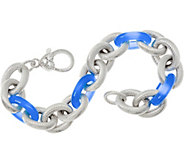 Judith Ripka 7-1/4 Veronoa Gemstone Link Sterling Bracelet 35.8g - J347869