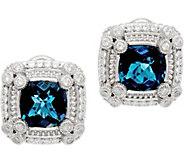 Judith Ripka Sterling Silver 3.60 cttw London Blue Topaz Earrings - J349569