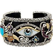 Barbara Bixby Sterling & 18K Multi-Gemstone Egyptian Hinged Cuff - J350469
