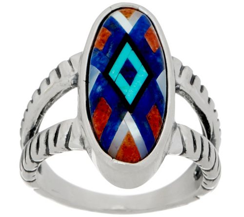 American West Sterling Silver Multi GemstoneInlay Ring