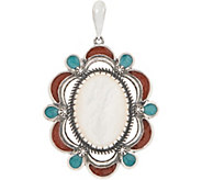 American West Sterling Silver Mother of Pearl & Turquoise Inlay Enhancer - J353369