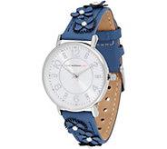Isaac Mizrahi Live! Floral Applique Leather Strap Watch - J353469