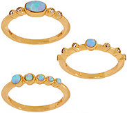Melinda Maria Simulated Gemstone Set of 3 Stack Rings- Heidi - J355669