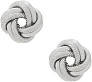 Italian Silver Polished & Textured Love Knot Stud Earrings - J355969