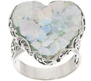 Or Paz Sterling Silver Roman Glass Heart Ring - J356369