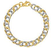 Italian Gold 14K Two-Tone Oval Link Bracelet, 7.0g - J384869