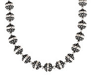 American West Sterling Oxidized Stamped Bead 17 Necklace - J384969