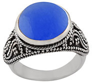 Artisan Crafted Sterling Silver Round Blue Quartz Ring - J385169