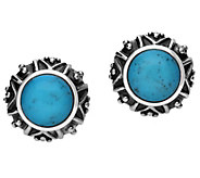 Elyse Ryan Sterling Silver Turquoise Button Earrings - J385369