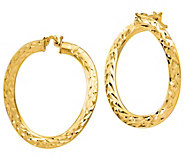 Italian Gold Twisted Hoop Earrings, 14K - J385569