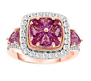 14K Gold 2.65 cttw Pink & White Sapphire Halo Ring - J385669