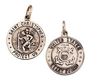Sterling Saint Christopher /Coast Guard Medal charm - J108270