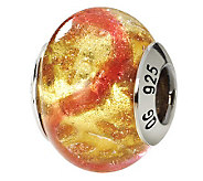 Prerogatives Sterling Pink & Gold Italian Murano Glass Bead - J111770