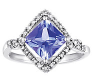 1.65 ct Tanzanite & 1/10 cttw Diamond Ring, 14KWhite Gold - J308570