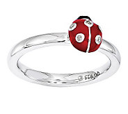 Simply Stacks Sterling Diamond Accent Ladybug Ring - J313170