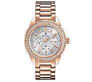 Bulova Ladies Rosetone Crystal Accented Bracelet Watch - J316370
