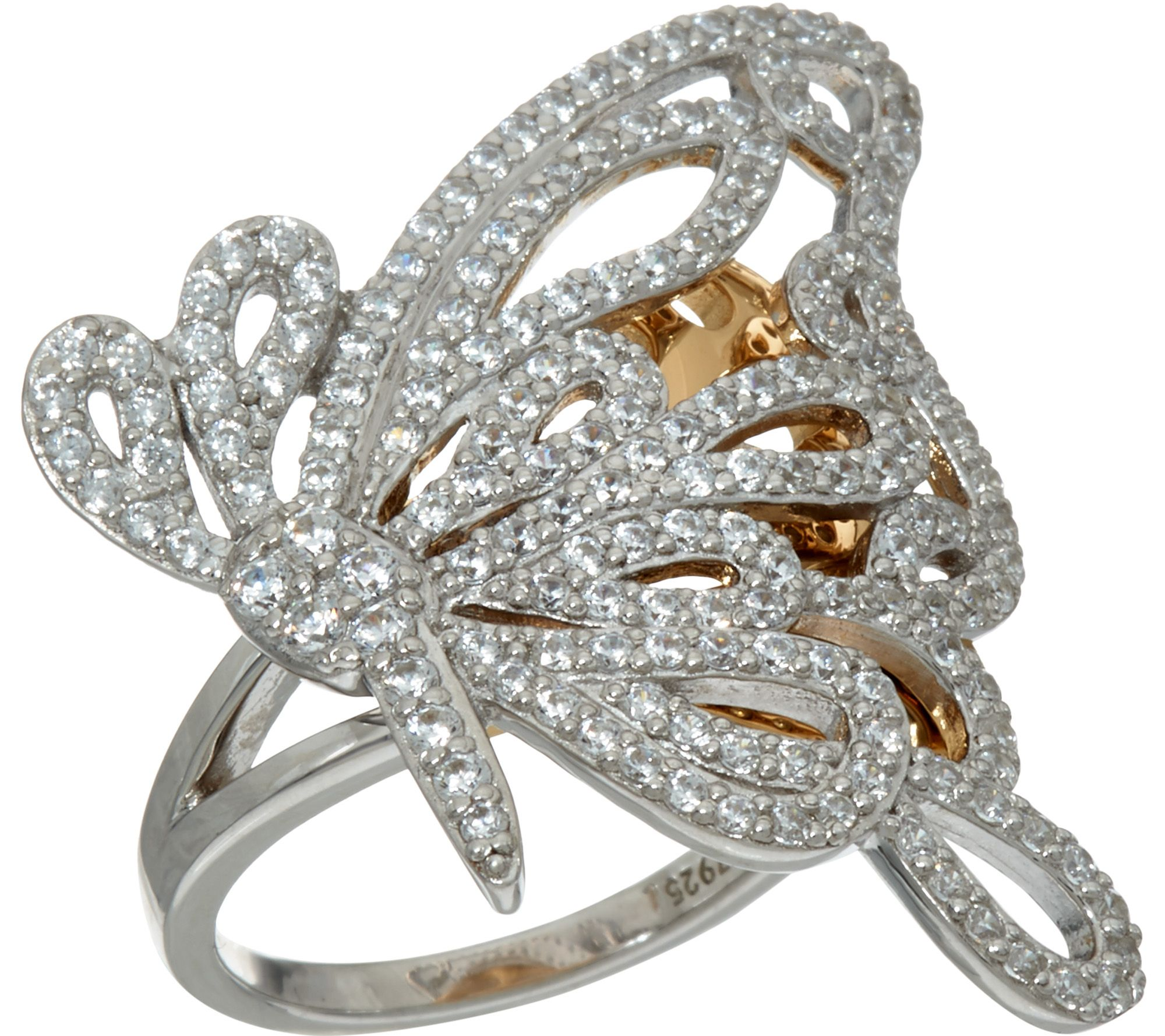 diamonique two tone butterfly ring sterling page 1 qvc com