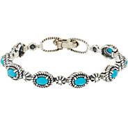 American West Sterling Silver Gemstone & Concha Tennis Bracelet - J348670
