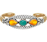 American West Sterling Silver & Brass Amber & Turquoise Cuff Bracelet - J349070