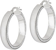 Italian Silver Satin Glitter Round Hoop Earrings, Sterling - J349370