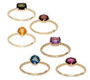 Judith Ripka 14K Gold Multi-Gemstone Set of 3 Rings - J353370