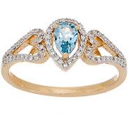 Brazillian Santa Maria Aqua Ring, 0.25 cttw, 14K Gold - J357470
