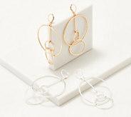 Joan Rivers Set of 2 Triple Circle Drop Earrings - J361170