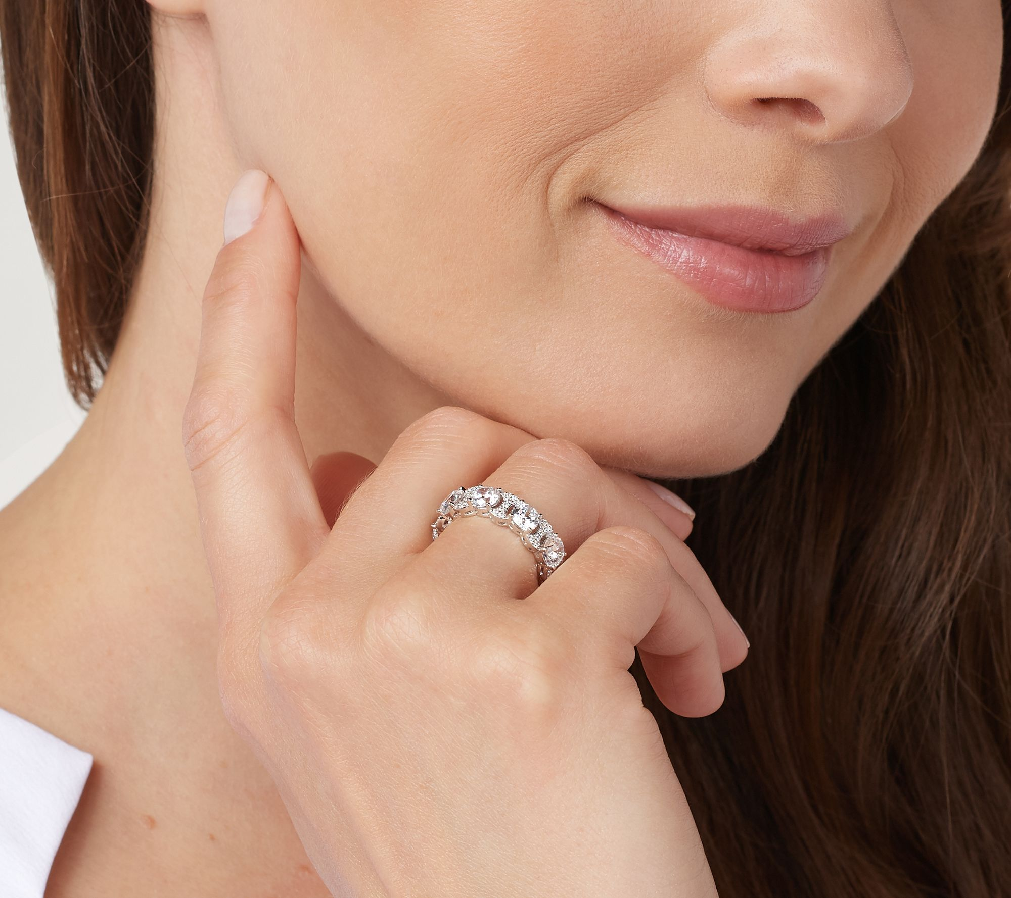Diamonique Clear Eternity Link Band Ring, Sterling Silver — QVC com