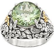 Sterling & 14K Gemstone Leaf Motif Ring - J378170
