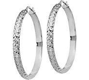 Italian Silver Large Round & Textured Hoop Earrings, Sterling - J379670