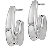 Italian Silver Demi Hoop Earrings, Sterling - J379870