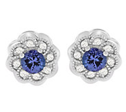 Sterling Tanzanite & White Zircon Earrings - J392170