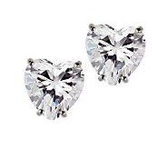 Diamonique 4 ct tw Heart Stud Earrings, 14KGold - J105271
