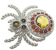Judith Ripka Sterling Silver Gemstone & DMQSpider Pin - J337671