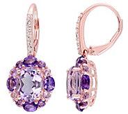 Sterling 5.45 cttw Amethyst & Rose de France Earrings - J342171