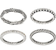 Peter Thomas Roth Sterling Silver & White Topaz Set of 4 Stack Rings - J353271