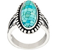 American West Sterling Silver Mosaic Turquoise Doublet Ring - J354171