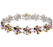 Colors of Tourmaline Flower Tennis Bracelet Sterling Silver - J355371