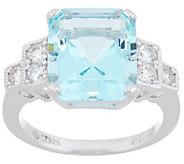Diamonique and Emerald-Cut Simulated Aquamarine Ring Sterling Silver - J358171