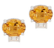 Judith Ripka Sterling Silver Gemstone & Diamonique Stud Earrings - J358671
