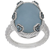 Judith Ripka Sterling Blue Topaz and AquamarineRing - J384071