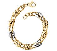 Italian Gold 14K Two-Tone Curb Link Bracelet, 6.3g - J384871