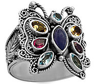 Artisan Crafted Sterling Silver Multi-GemstoneButterfly Ring - J385171