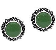 Elyse Ryan Sterling Silver Aventurine Button Earrings - J385371