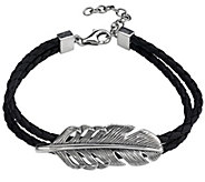 Or Paz Mens Sterling Silver 8 Feather DoubleCord Bracelet - J385471