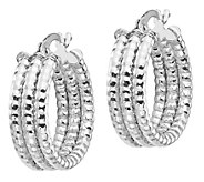 Italian Gold Round Triple Hoop Earrings, 14K - J385571