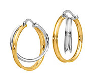 Italian Gold Two-Tone Double Circle Hoop Earrings, 14K - J385671