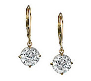 Diamonique 100 Facet 4 ct tw Lever Back Earring s, 14K Gold - J111272
