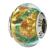 Prerogatives Sterling Blue & Gold Italian Murano Glass Bead - J111772