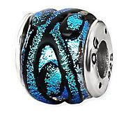Prerogatives Sterling Blue Dichroic Glass Striped Bead - J113372